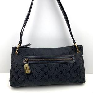 GUCCI Black Leather GG Monogram Shoulder Bag